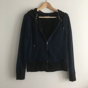 DKNY Jeans Hooded Full Zip Front Jacket Navy